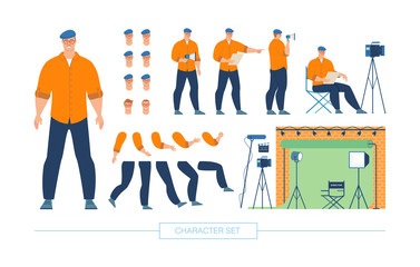 Movie Director Character Constructor Vector Set