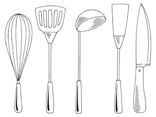 Kitchen supplies set graphic black white isolated sketch illustration vector