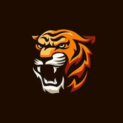 Roaring tiger logo design vector illustration