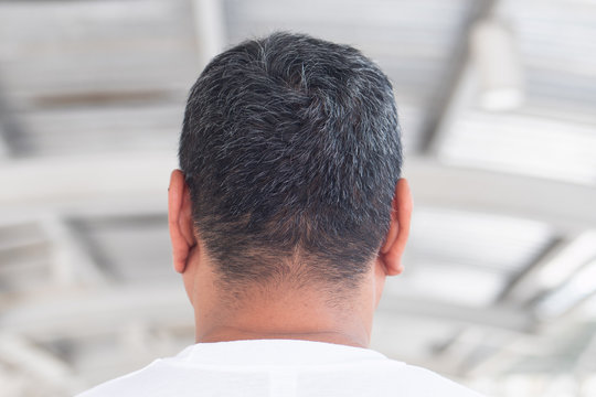 back head of asian senior old man with gray hair