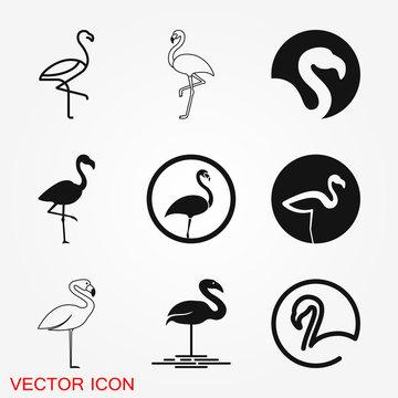 Flamingo icon, minimalistic vector illustration, symbol of bird