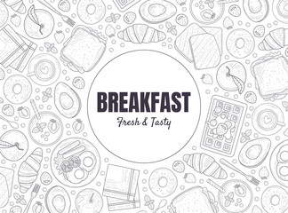 Fresh and Tasty Breakfast Banner Template, Morning Food Menu Vintage Hand Drawn Vector Illustration
