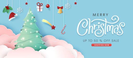 Fototapete - Merry christmas sale banner background.Merry Christmas text Calligraphic Lettering Vector illustration.