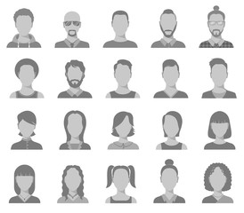 Profile icons. Male and female head silhouettes avatar, user icons, people portraits. Vector set of profile interface user, head human man and woman illustration