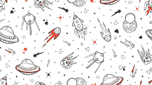 Space pattern. Vector kids seamless texture with doodle rocket, planet, stars. Space, Universe illustration rocket and planet star, asteroid background