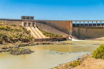 Gariep dam during a drought in the Free state province of South Africa.