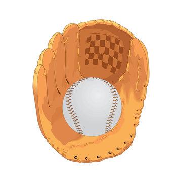 Baseball ball in the catcher's mitt