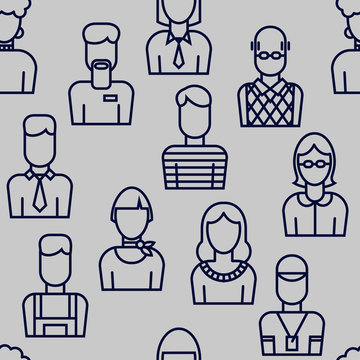 A seamless pattern with vector outline  business avatars for presentation design and web site.