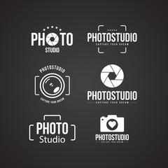 Camera shutter, lenses and photo camera icons set