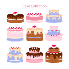 Cake and dessert cartoon,flat icons in set collection for design. Holiday cake vector symbol stock web illustration