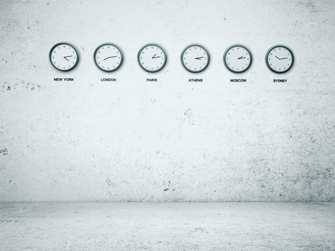 Six wall clocks