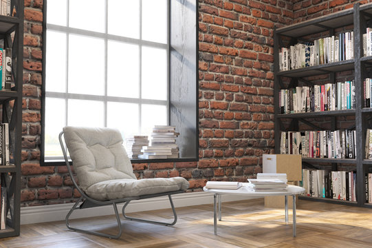 Bookshelves,Loft style interior, wooden floor with  big window
