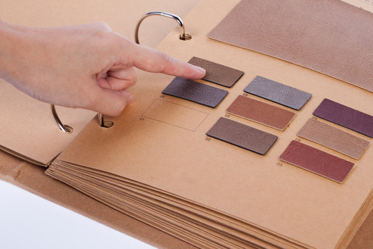 hand with material sample book