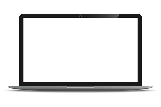Laptop computer ultrabook with blank white screen realistic icon for mockup user interface design isolated on white background.