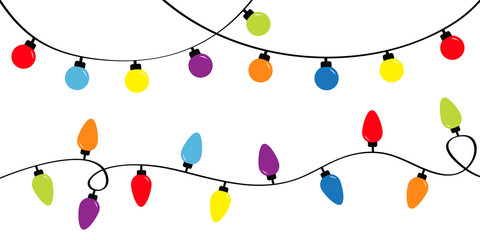 Christmas lights. Holiday festive xmas decoration. Colorful string fairy light set. Lightbulb glowing garland. Rainbow color. Flat design. White background. Isolated.