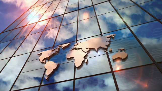 World Map sign on glass skyscraper with mirrored sky illustration