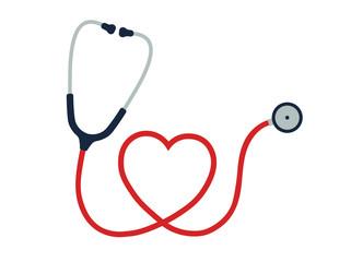 Flat cartoon style heart Stethoscope icon. Healthcare logo image. Vector illustration. Isolated on white background.
