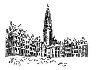 Wall Mural - Vector sketch of  Grote Markt square in Antwerpen, Belgium.