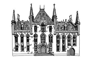 Wall Mural - PrintVector sketch of theater in Ghent, Belgium