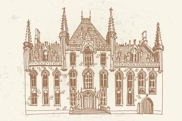 Wall Mural - Vector sketch of theater in Ghent, Belgium
