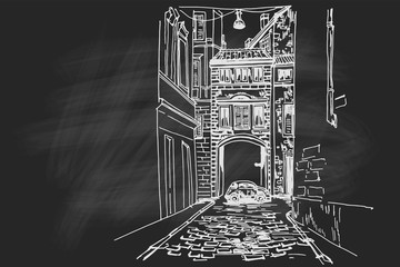 Wall Mural - Vector sketch of street scene in Rome, Italy.