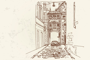 Wall Mural - Vector sketch of street scene in Rome, Italy.
