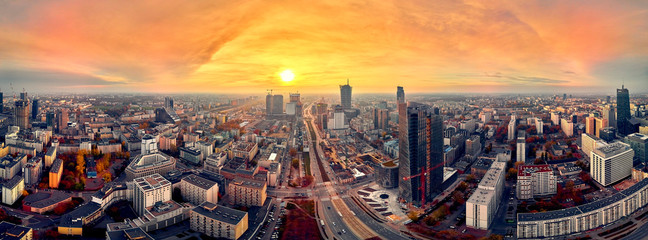 Beautiful panoramic aerial drone view to panorama cityscape of Warsaw modern City, Mennica Legacy...