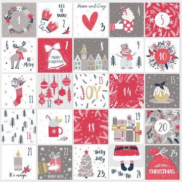 Christmas advent  calendar. Countdown till Christmas kit