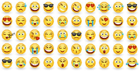 Set cartoon style icons smile emoticons isolated on white background. Stickers smile characters and emojis. Collection of emoticon badge, signs and symbols used in social media chats. EPS 10.