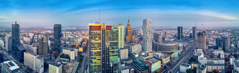 Beautiful panoramic aerial drone view to panorama cityscape of Warsaw modern City, PKiN and