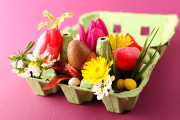 egg box with flower, tulip, chocolate egg- easter day festive