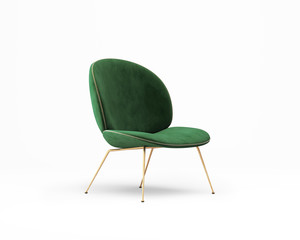 3d rendering of an Isolated green velvet modern chair