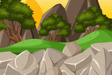 Background design of landscape with mountains at sunset