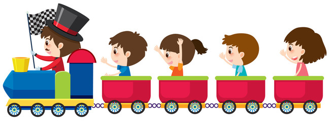 Four children riding on train on white background
