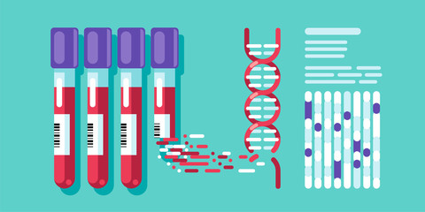 Decoding DNA spiral from a flask with biological materials. DNA test flat illustration.