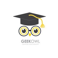 Canvas Prints Owls cartoon Illustration concept of owl in graduate hat . Vector