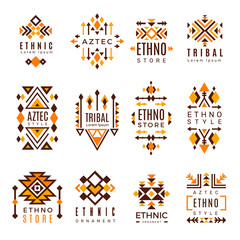 Ethnic logo. Trendy tribal symbols geometric shapes indian decorative mexican vector elements. Illustration of american and mexican trendy decoration logo