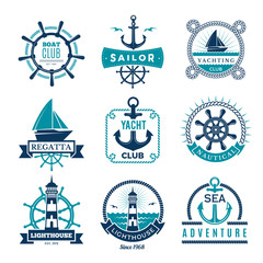 Marine labels. Nautical logo sailing boats rope and marine knot framed vector badges. Illustration marine nautical logo, anchor and steering illustration