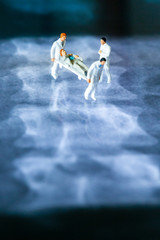 Wall Murals Martial arts Two miniature paramedics carrying a patient over an x-ray image with a doctor taking care of the person
