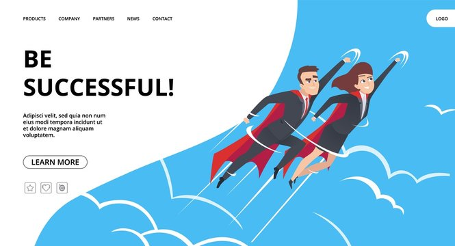Successful business. Web page with male and female superheroes background. Teamwork heroes flying in sky vector business landing concept. Business superhero, businessman achievement illustration