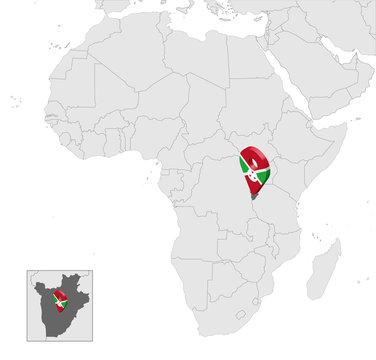Location Map of Burundi on map Africa. 3d Republic of Burundi flag map marker location pin. High quality map of  Burundi. Vector illustration EPS10.