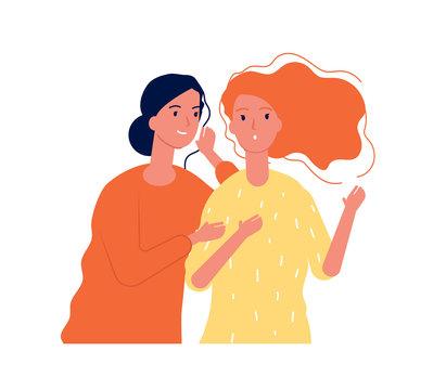 Woman secrets. Ladies girlfriends speaking about surprise gossiping whispering vector concept. Illustration girl speak gossip, secret talk and listening