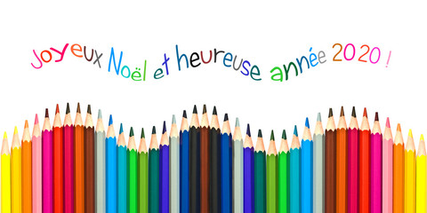 Vague de crayons multicolore, carte de voeux joyeux noël, bonne année en français
