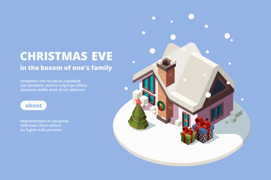Snow house. Xmas building with holiday gifts green decoration tree 3d vector isometric banner for web template. Illustration gift and xmas building, christmas house