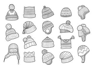 Winter doodle hat. Clothes flapping ears warm hat with fur knitted vector sketches illustrations. Clothes and cap, scarf knitted, clothing accessories sketch knitwork