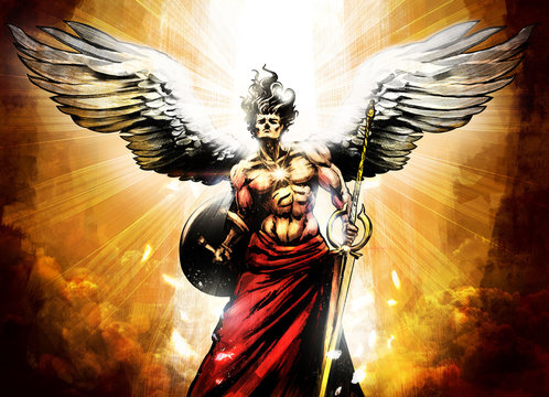 Mighty muscular angel with sword and shield surrounded by divine radiance . 2D illustration