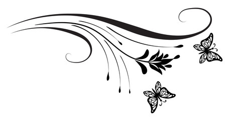 Wall Mural - Decorative floral corner ornament with butterfly