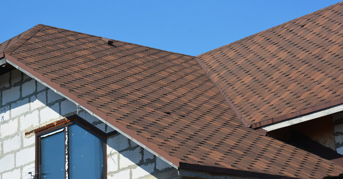Problem Areas for House Asphalt Shingles Corner Roofing Construction Waterproofing Outdoors