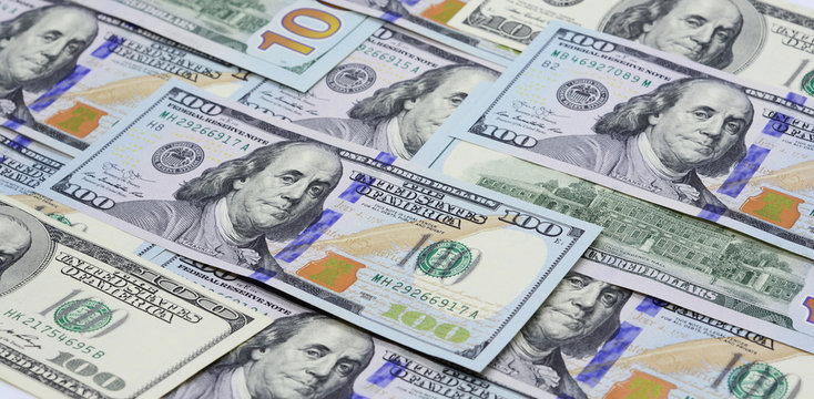 Currencies USD Concept, One Hundred Dollar Banknotes Panoramic Cash Flow