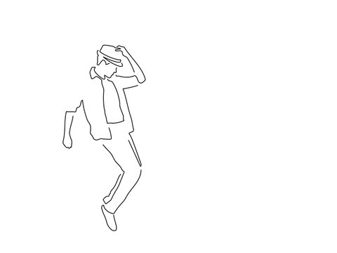 Man dancing line drawing, vector illustration design. Music collection.